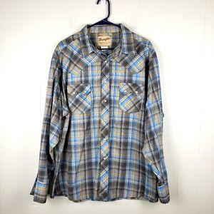 WRANGLER Western Snap Front Long Sleeve Shirt XXL